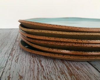 Dinner Set, Plate Set of 6, Large Plate Set, Ceramic Pottery Plates in Blue, Green and Turquoise, Handmade Stoneware Plate