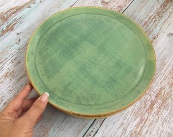 Green Stoneware Dinner Plate, Ceramic Plate, Large Pottery Plate, Rustic Dinnerware, Modern Dishware