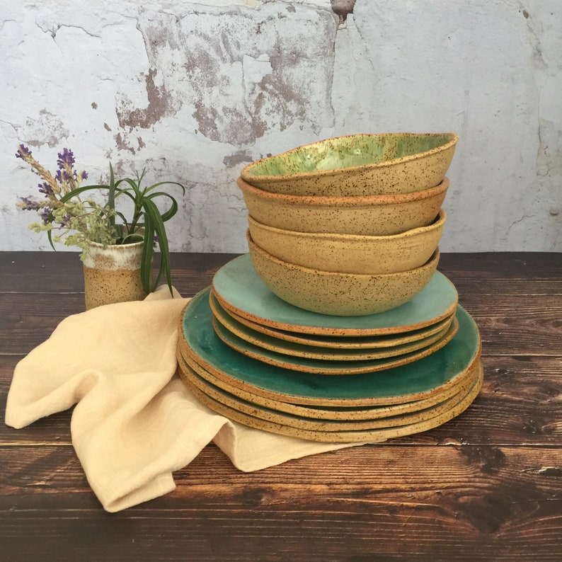 Rustic Dinnerware Set Handmade Pottery Set of 3-pieces for 4 image 0