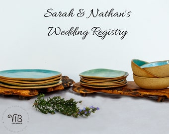 Sarah & Nathan's Wedding Registry - Turquoise Handmade Pottery Dinnerware Set for 6 - Made in Israel