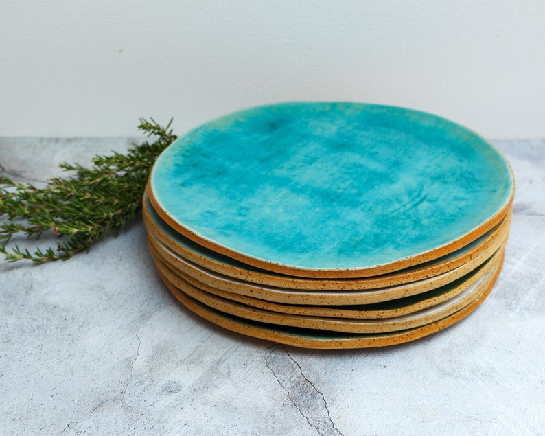 Set of 6 Turquoise Plates Ceramic Dishes Large Ceramic image 0