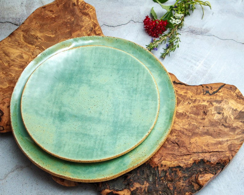 Green Stoneware Dinner Plates Ceramic Dinner Sets Large image 0