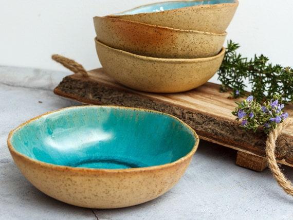 Blue green. Stoneware salad bowl