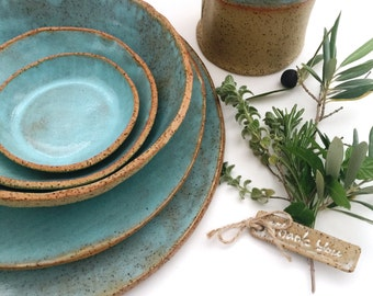 Dining and Serving Blue Plates and Bowls Ceramic Dinnerware, Handmade Stoneware Pottery Dinner Set of 5-piece