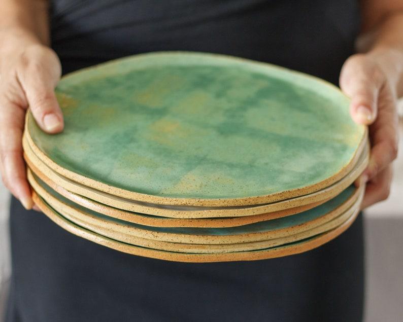 Set of Four Ceramic Salad Plates Rustic Ceramic Plates image 0