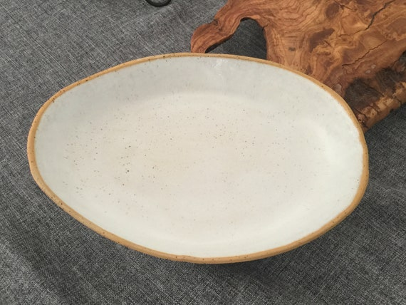 Rustic White Tray White Handmade Ceramic Serving Tray