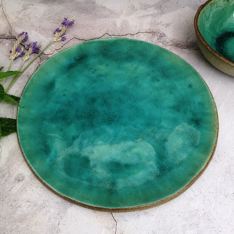 Ceramic Serving Platter Large Turquoise Gray Serving Plates image 0
