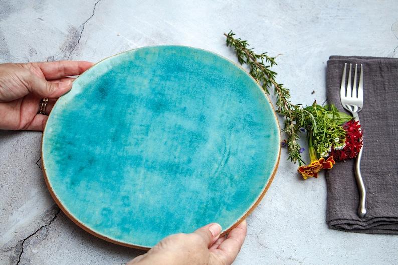 Large Ceramic Plates Turquoise Stoneware Dishes Rustic image 0