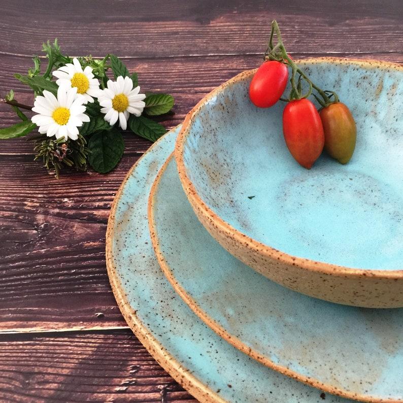 Farmhouse Dinnerware Set 3-Pieces Rustic Handmade Ceramic Set Light Blue