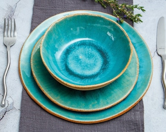Handmade Ceramic Dinner Set, Pottery Dinnerware, Organic Plate Set, Plates and Bowls in Blue and Green, Stoneware Service Set