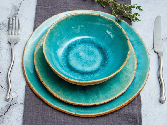 Turquoise plate Light Blue plate Handmade Ceramic Plate Handmade plate,Square plate Pottery dish small Plate in Turquoise Green