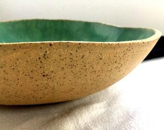 Fruit Bowl, Large Round Ceramic Bowl, Big Green Pottery Serving Bowl, Decorative Centerpiece Bowl, Extra Large Stoneware Clay Bowl