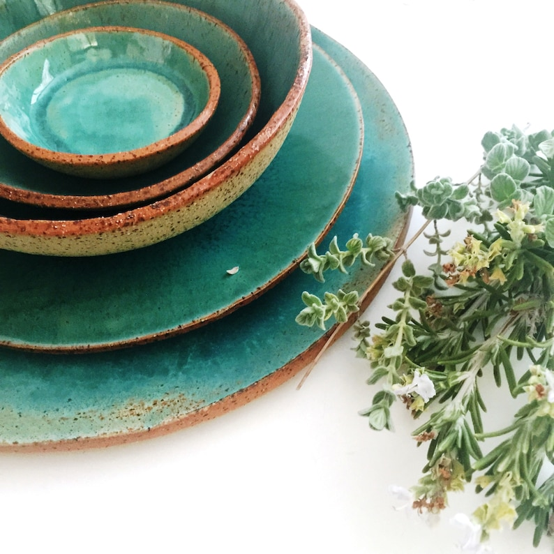 Farmhouse Dinnerware Set  Rustic Handmade Ceramic Set for One Turquoise