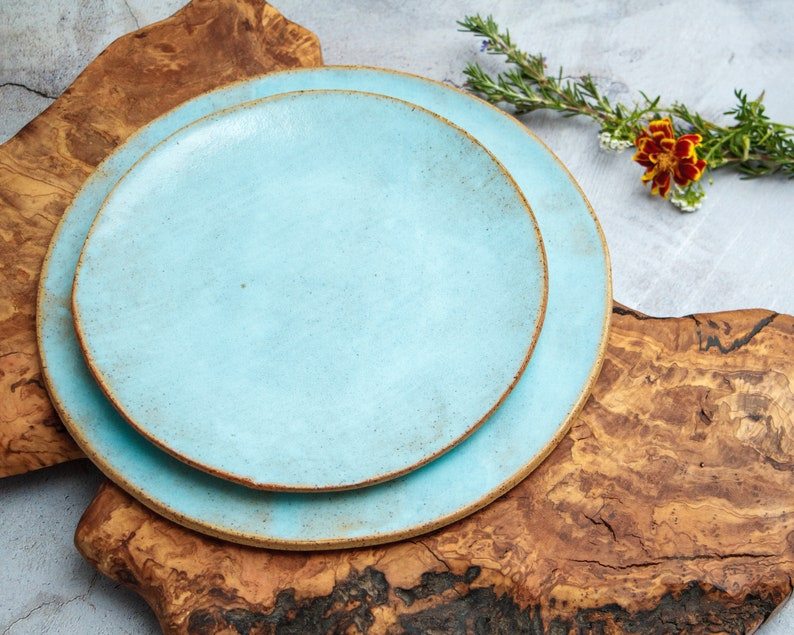 Light Blue Ceramic Plates Small Salad Plates Rustic Ceramic image 0