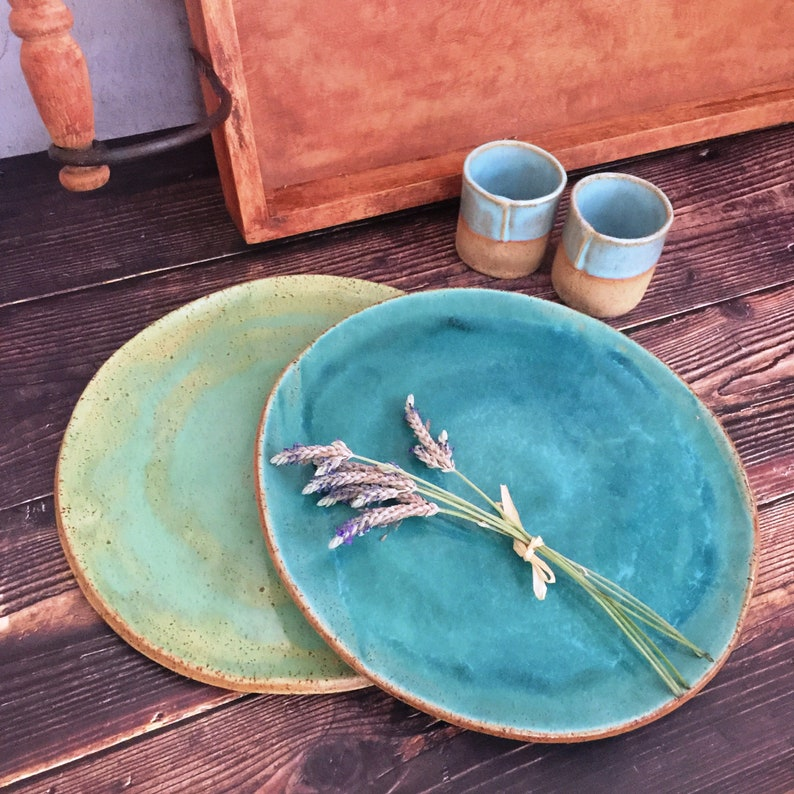 Ceramic Plates Handmade Pottery Stoneware Dinner Plates Set of image 0