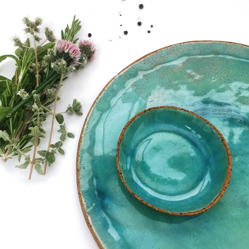 Dinner Plates Rustic Dinnerware Ceramic Plate Pottery Turquoise