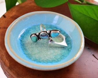 Light Blue Ring Dish Engagement Gift, Handmade Ceramic Dish, Small Ceramic Bowl, Jewelry Dish Anniversary Gift, Unique Bridal Shower Gifts