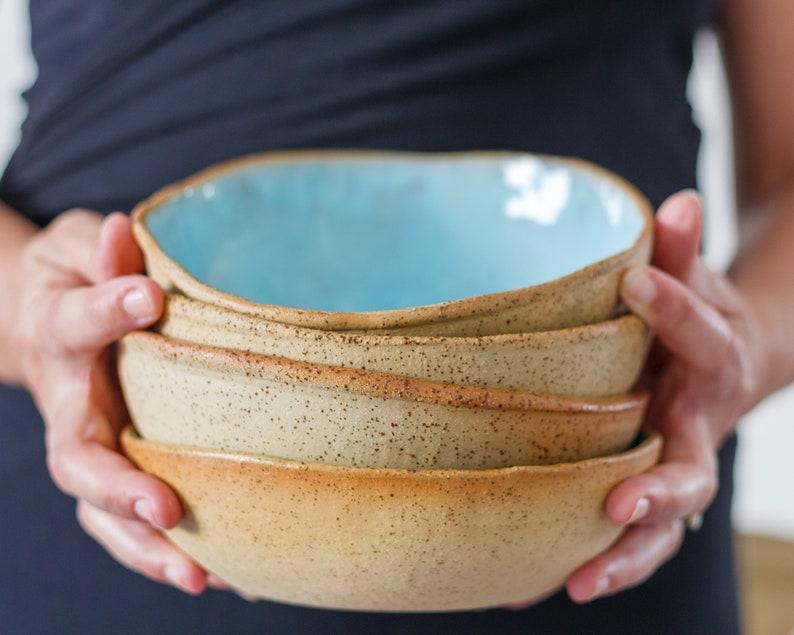 Modern Ceramic Soup Bowl Blue Serving Bowls Large Deep image 0