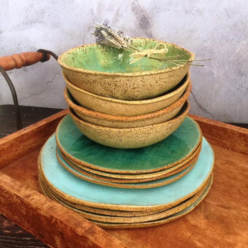 Rustic Dinnerware Set Handmade Pottery Set of 3-pieces for 4 Mix & Match