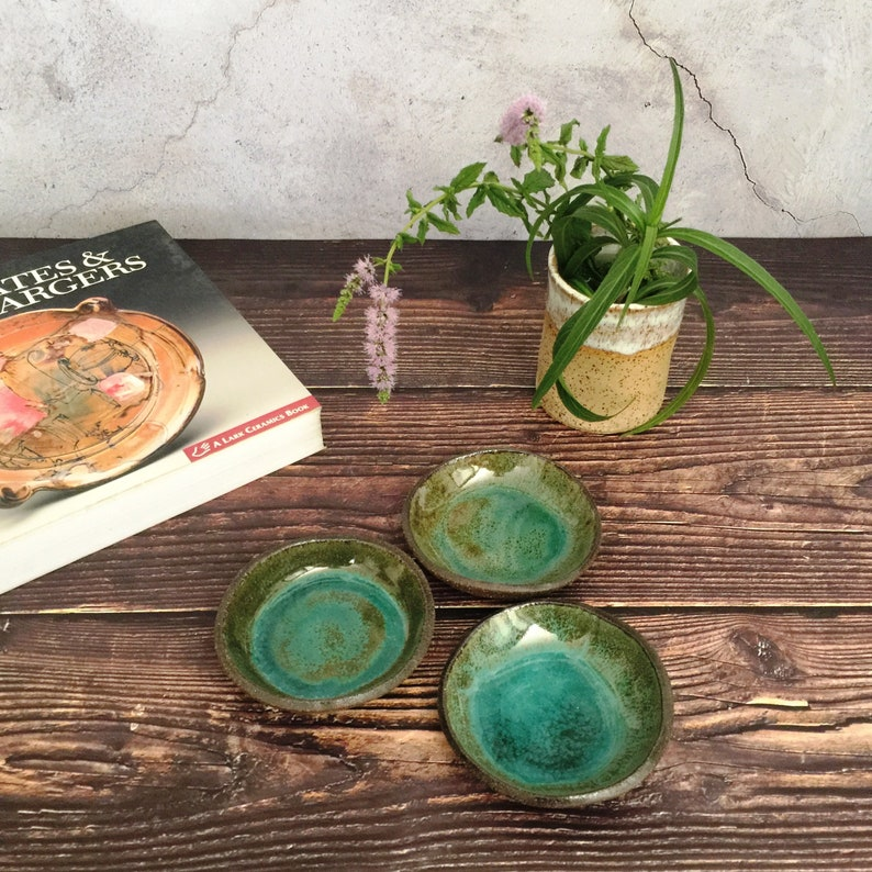 Set of 3 Small Ceramic Dishes Appetizer handmade Pottery image 0