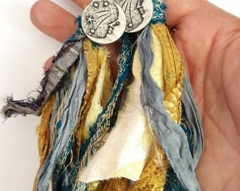 Celestial Sari Silk Post Statement Earrings
