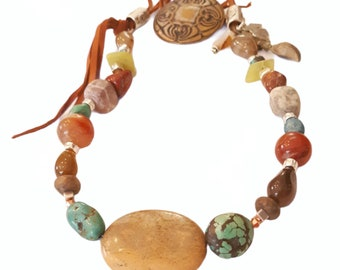 Blue Honey Jewelry Gemstone & Leather Southwestern Beaded Necklace