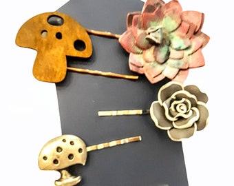 Mushroom and Succulent Hair Pins