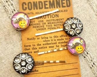 Spooky Black Cat & Rhinestone Halloween Hair Pins/ Set of 4