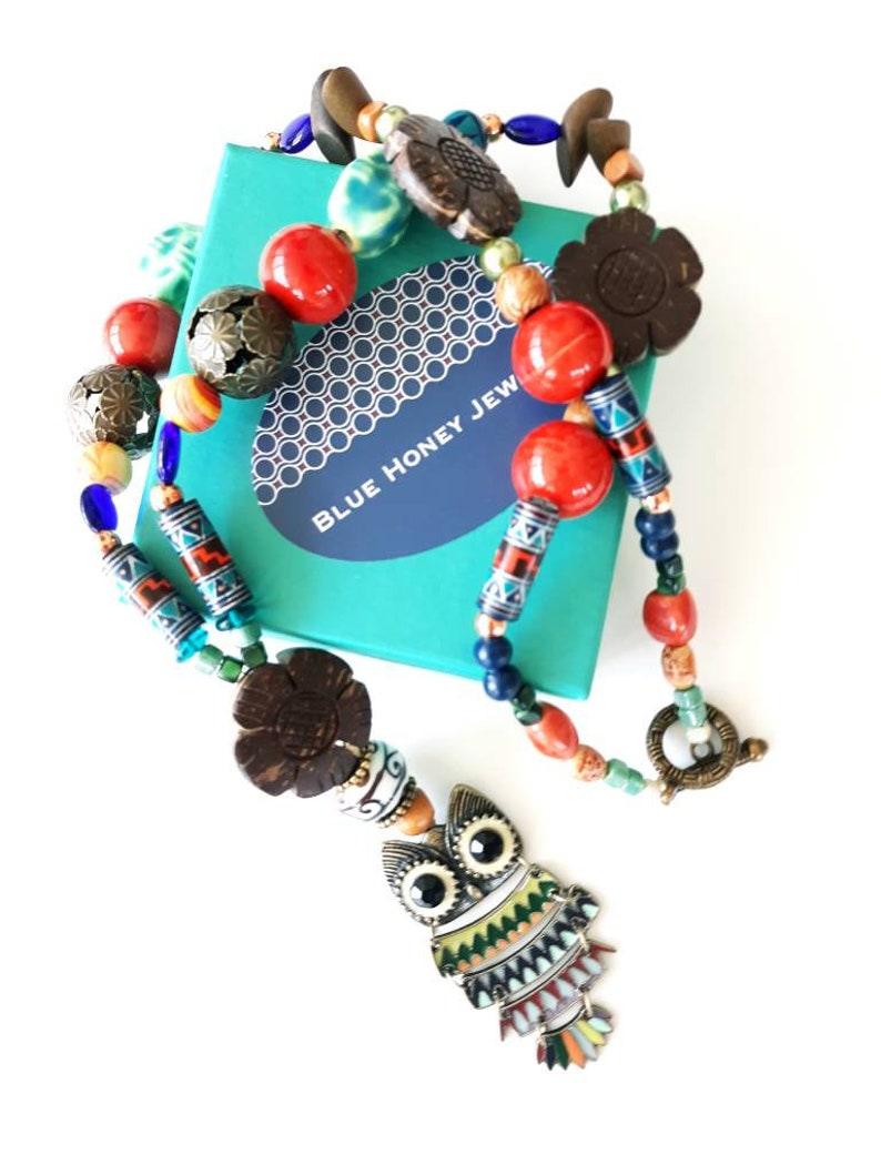 Hippie Beaded Owl Statement Necklace by Blue Honey Jewelry Boho Chic  Festival Owl Lover Gifts  OOAK Designs