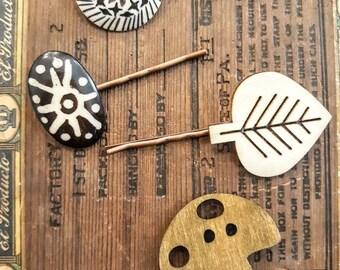 Woodland Mushroom & Leaf Hair Pin Set