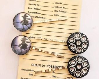 Broom Riding Witch & Rhinestone Hair Pin Set by Blue Honey Jewelry