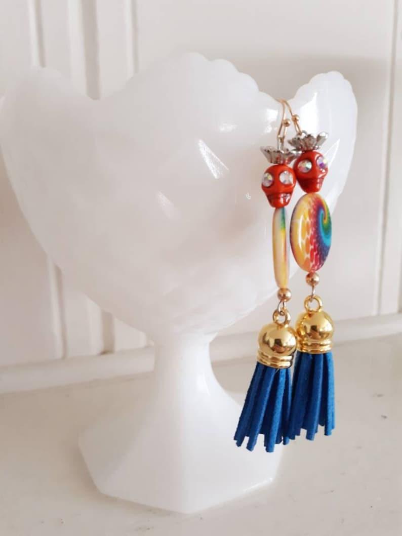 Crowned Skull and Tye Die Leather Tassel Earrings by Blue Honey Jewelry Day of Dead  Halloween Rocker Chic