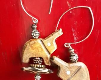 Carved Tribal Elephant Beaded Earrings