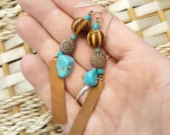 Copper & Chalk Turquoise Southwestern Earrings