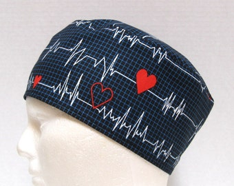 5dc800b60c62c Mens Scrub Hat or Surgical Cap Cardiac Heart EKG on Black or White