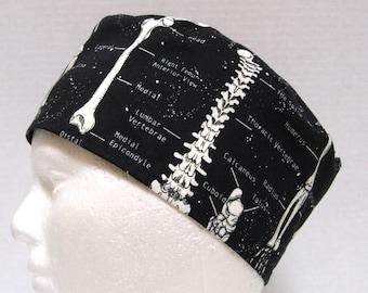 Mens Scrub Hat, Surgical Cap or Orthopedic Surgeon Cap Anatomical Skeleton print