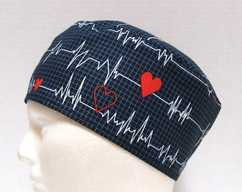 Mens Scrub Hat or Surgical Cap Cardiac Heart EKG on Black or White