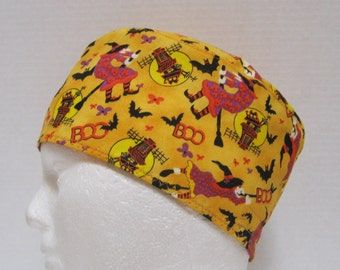 Mens Halloween Scrub Hat or Surgical Cap with Witches and Bats