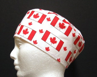 Scrub Hat, Surgical Cap, Chefs Skull Cap with Canadian Flag