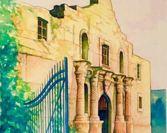 The Alamo Southwest Texas watercolor digital print