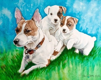 "Custom Pet Portrait Watercolor Painting 9""x12"""