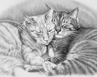 "Custom Pet Portrait 9""x12"" Pencil portrait drawing dog cat"