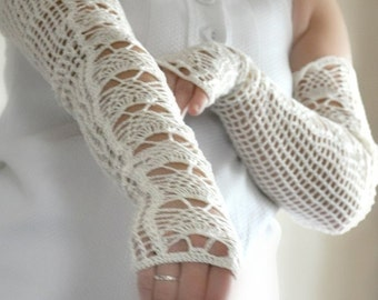 Long Lacy Crochet Wedding Gloves - MADE TO ORDER