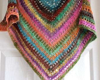 Triangular Crochet Shawl In Gypsy Style - MADE TO ORDER