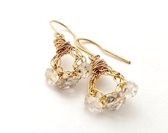 Herkimer Diamond Crochet Earrings