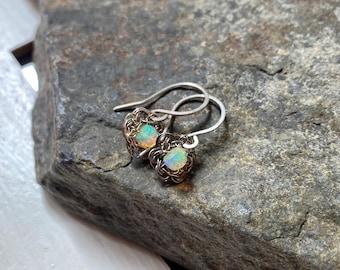 Tiny Crochet Opal Earrings