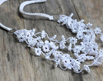Flower Fall Crocheted And Beaded Necklace in White Wedding Jewelry Unique Floral Bridal Silver and Silk