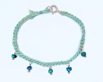 Crochet Bracelet With Azurite
