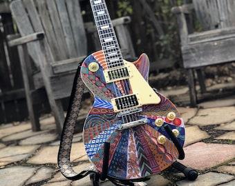 Custom Painted Hand Built Les Paul Style Guitar