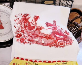 Embroidered Rooster, Hen and Chick Farm Scene Floursack Towel Set